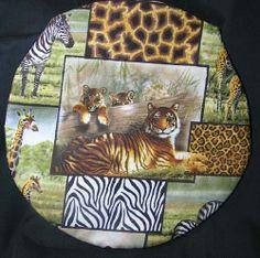 Round Microwave baked potato baker bag Safari Animals by Inthecc, $9.00