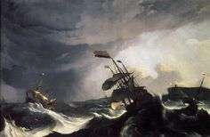 """""""Ship in Distress in a Raging Storm"""" 1690, Ludolf Backhusen, oil painting on canvas"""