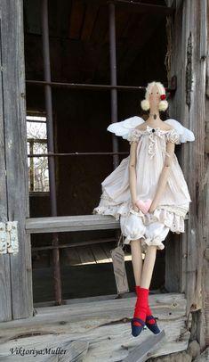 Купить кукла тильда ручной работы МОЙ АНГЕЛ - бежевый, кукла ручной работы