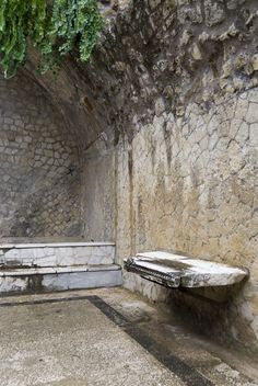 *HERCULANEUM, ITALY ~ The ruins of Herculaneum. Similar, but better preserved than Pompeii. This is the interior of one of the famous Roman Baths.