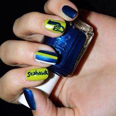 Seahawks themed nails. Go Hawks!
