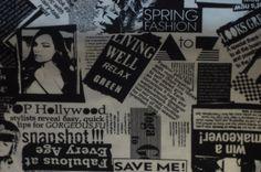 Newspaper White Jersey Knit Fabric