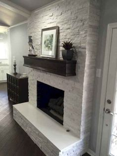 Most up-to-date Totally Free Stone Fireplace makeover Style Fireplace makeover: Crystal White Quartzite Interlocking Ledger Panel Farmhouse Fireplace Mantels, Fireplace Update, Brick Fireplace Makeover, Old Fireplace, Fireplace Surrounds, Fireplace Design, Fireplace Ideas, Shiplap Fireplace, Ledger Stone Fireplace