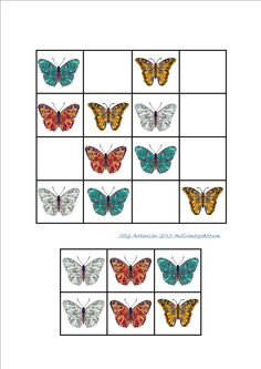 Simple sudoku butterflies - cut and paste. By Autismespektrum Printable Masks, Math Concepts, Busy Bags, Salvia, Brain Teasers, Coloring For Kids, Caterpillar, Bingo, Alphabet