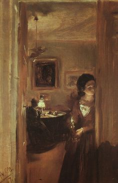 The Artist's Sister with a Candle Adolph von Menzel Check more at http://artunframed.com/Gallery/shop/the-artists-sister-with-a-candle/