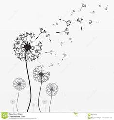Seven vector dandelions stock vector. Illustration of fragile - 36279722 Dandelion Drawing, Blowing Dandelion, Dandelion Art, Wind Drawing, Birthday Doodle, Easy Doodles Drawings, Bullet Journal Art, Outline Designs, Black And White Illustration