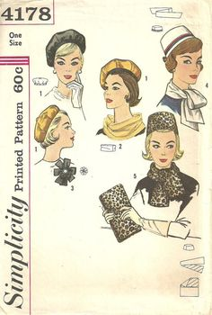 Simplicity 4178 / Vintage Fashion Accessories Sewing Pattern / Hat Cap Beret Scarf Millinery Purse Clutch Handbag