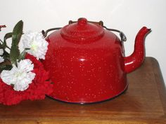 Large Red Speckled Enamelware 4 Qt Teapot / Tea by CookieGrandma60, $22.00