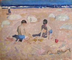 Alberto Morrocco - Beach scene, 1961