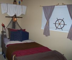 A pirates life for me. Pirate Ship Bed, Pirate Bedroom, Mermaid Stories, Boy Room, Child's Room, Pirate Life, Pirate Theme, Bed Design, Pirates