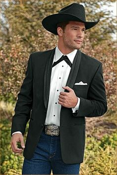 46 R Mens Black Western Tuxedo Mom said Dad would look good ina cowboy hat. Could be nice to see them both in hats hb Cowboy Wedding Attire, Country Groom Attire, Country Wedding Attire, Tuxedo Wedding, Wedding Men, Wedding Suits, Wedding Ideas, Cowboy Weddings, Wedding Inspiration
