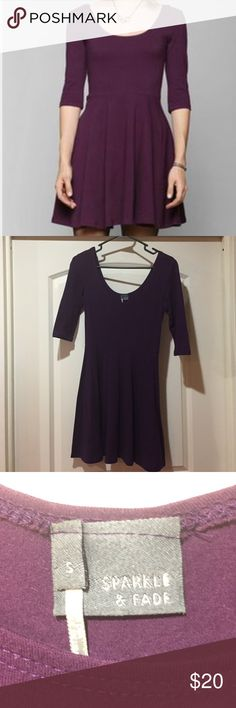 Urban Outfitters 3/4 Sleeve Skater Dress, Plum Sparkle & Fade 3/4 Sleeve Knit Skater Dress from Urban Outfitters. Plum color. Size small. Worn once, looks new. Urban Outfitters Dresses Mini