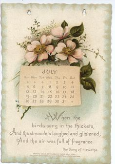 Antique calendar, July 1896