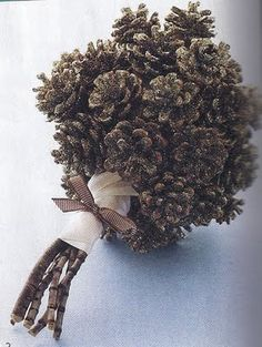Bridesmaids could be plain pine cones with the whatever color ribbon to rap the sticks for whatever color them