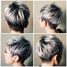 20 Trendy graue Frisuren – graue Haare Trend & Balayage Hair Designs - All About Hairstyles Longer Pixie Haircut, Short Pixie Haircuts, Pixie Hairstyles, Hairstyles Haircuts, Short Female Haircuts, Short Gray Hairstyles, Fringe Hairstyles, Ladies Hairstyles, Wedge Hairstyles