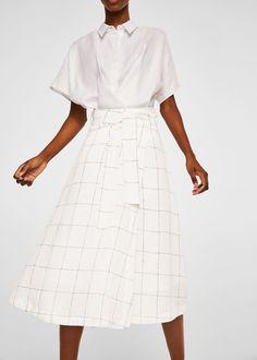Tejido de lino Diseño acampanado Estampado de cuadros Cinta en la cintura con cierre de lazo Forro interior de algodón
