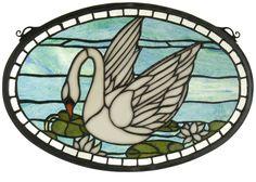 """18""""W X 12""""H Swan Oval Stained Glass Window"""