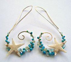 Starfish Hoop Earrings Real Starfish Beach