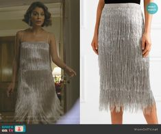Cristal's metallic fringed top and skirt on Dynasty.  Outfit Details: https://wornontv.net/86818/ #Dynasty