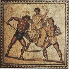 Fight of gladiators. Floor mosaic from one of the villas. Ca. 250 C.E. Nennig on Mosel (Germany), Roman Villa.