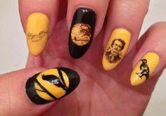 Yellow and black Edgar Allen Poe nails - freehand, water decals and sticker