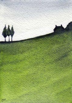 Green., Watercolor painting by JULIE MORRIS | Artfinder