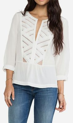 Twelfth Street By Cynthia Vincent Lace Bib Peplum Blouse in White