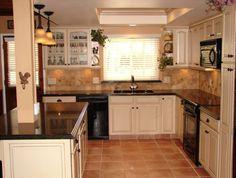 KraftMaid Hazlenut cabinets with Zodiaq countertops. Kitchen Cabinets In Bathroom, Kitchen And Bath, New Kitchen, Kitchen Dining, Kitchen Ideas, Dining Room, Off White Kitchens, Black Appliances, Cabinet Design