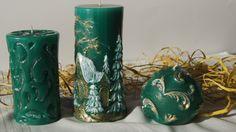 Candle set in the green Zestaw świec w zieleni