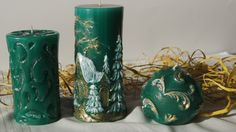 Candle set in the green Zestaw świec w zieleni