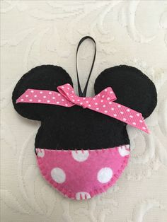 Felt crafts, felt ornament, Minnie Mouse, made by Janis