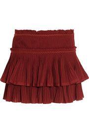 Mini-jupe en gaze de coton plissée Glitz