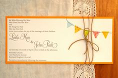 rustic wedding invtation using washi tape bunting with burlap