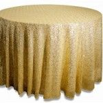 "Gold Sequin 120"" Round Table Cloth"
