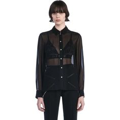 Alexander Wang Collared Sheer Shirt with Engineered Embroidery as seen on Lily Aldridge