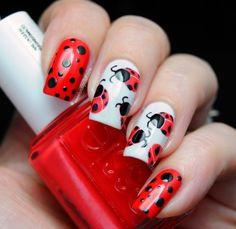 Image viaDay Ladybug Nail Art - - NAILS MagazineImage viaLady bug nails are sooo easy! Animal Nail Designs, Red Nail Designs, Beautiful Nail Designs, Red Nails, Love Nails, Pretty Nails, Pastel Nails, Bling Nails, White Nails
