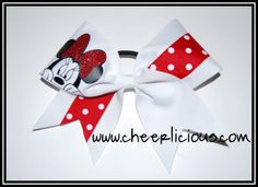 $12 Peeking Miss Mouse Cheer Bow available on www.cheerlicious.com Big Bows, Cute Bows, Disney Cheer Bows, Cheerleading Cheers, Minnie, Peek A Boos, Competition, Life, Sash