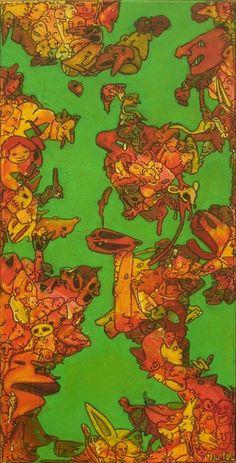 adopteuncon.com - 30x60 cm,  Acrylique et pastel à l'huile sur toile