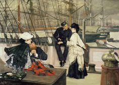 The Captain and the Mate, 1873 (oil on canvas), by Tissot.  Private Collection.  Courtesy of The Bridgeman Art Library for use in The Hammock:  A novel based on the true story of French painter James Tissot, by Lucy Paquette, available on e-readers Fall 2012