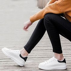 17a5c64face3 SpritechTM Men Women Unisex Fashion PU Leather Lace Up Lovers Casual Flat  Sneaker Shoes White and Black 37    Want to know more