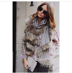 Fur, grey, glasses chic and classy
