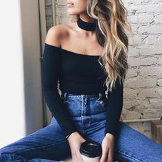black off the shoulder body suit with black choker, high waisted jeans, love.