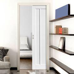 Single Pocket Jamaica Shaker Panel White sliding door system in three size widths. #whitepaneldoors #internalpocketdoor #internalslidingcontemporarydoor