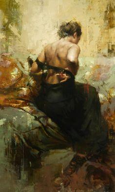 """Undressing"" 2012, oil on panel by San Francisco based artist Jeremy Mann"
