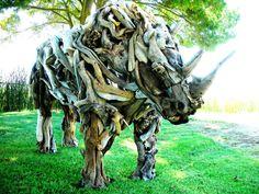 Life size driftwood rhino sculpture. SOLD Matt Torrens Driftwood Sculpture Artist