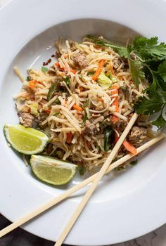 Skip eating out for this amazing noodle bowl. Ready in about 40 minutes, packed with flavor, this is a great weeknight quick fix meal. Easy Asian Noodles with Ground Pork and Spicy Peanut Sauce = delicious and addicting. #noodles #cooking #padthai #peanutsauce #pork Chicken Pasta Recipes, Healthy Pasta Recipes, Pork Recipes, Easy Dinner Recipes, Peanut Sauce Noodles, Spicy Peanut Sauce, Asian Noodle Recipes, Asian Recipes, Ethnic Recipes