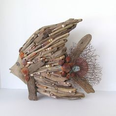 Driftwood Art Sculpture Fish Angelfish Shells Beach Coastal Decor Accent