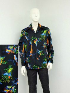 Vintage 70s Mens Polyester Black Disco Shirt, Bird Parrot Novelty Print, Retro Shirt, Butterfly Collar, Big Collar, Long Sleeves This is one of the most amazing disco shirts we have ever found!