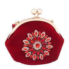 """XIANGYI Womens Floral Clutch Bag Velvet Crystal Handbag Evening Party Purse (Red). Kiss lock closure.pure elegance glamorous and feminine clutch bag . Can be carried by hand as a clutch or over an arm or shoulder by using the included exchangeable short or long chain strap. The spacious and luxuriously lined interior has plenty of room for keys, ID, lipstick, tissues, and other essentials. Purse measurement is approximately: 6.6"""" x 4.7"""" x 6.2""""(L x W x H).Well crafted and high quality..."""