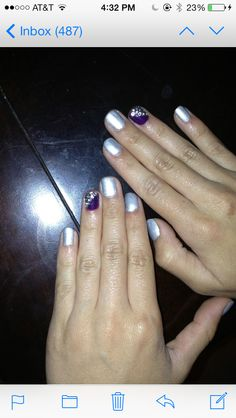 Silver and purple shellac nails